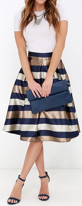 Women's fashion | White top, striped midi skirt, heels and a matching clutch