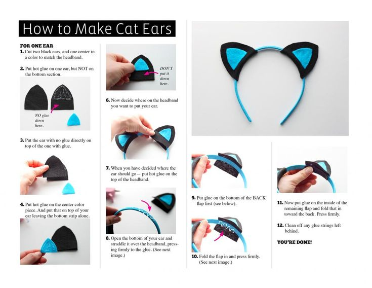 The cat ear headband is done! Here are two other easy cat ear DIYs to try: The Coveted – Shoulder Pad Cat Ears– The Coveted used shoulder pads to make ears, clever and simple! Tally's Treasury – Quick Felt Cat Ears – Super duper cute and easy felt cat ears from Tally's treasury.