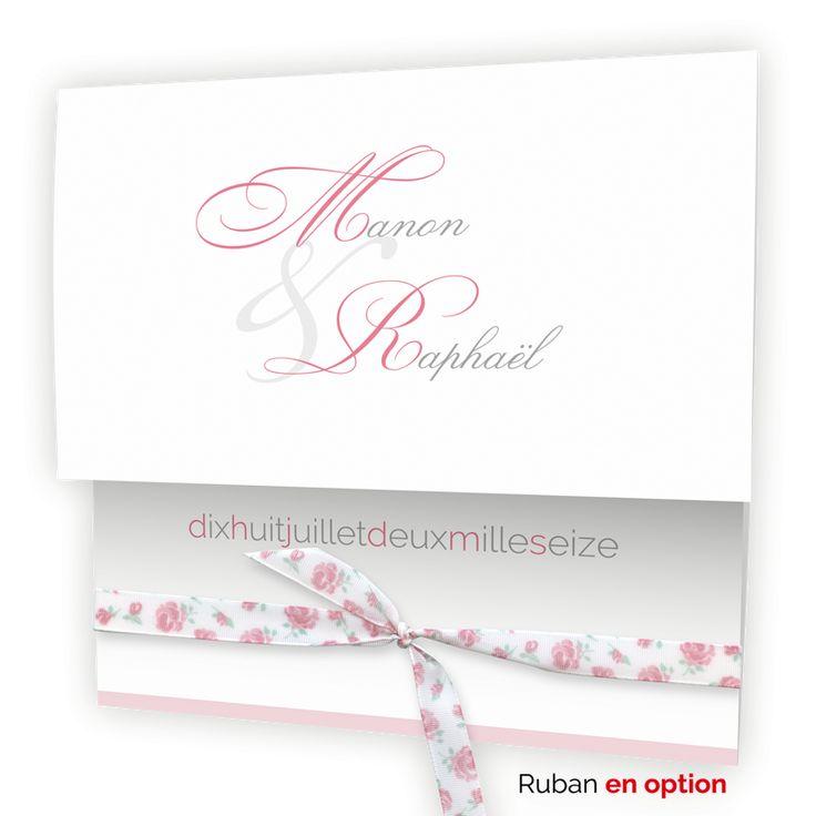 Faire part mariage chic & pas cher : Pochette blanche et bande rose N15C216
