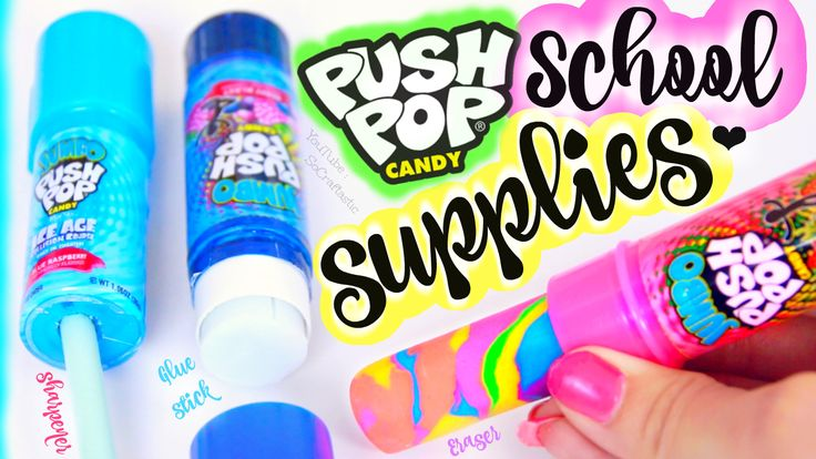 School can be totally boring, so learn how to make some cool, DIY school supplies out of Push Pop candy tubes! Create a rainbow eraser or a pencil sharpener with a lid. You can even decorate a regular glue stick to make it look like a Push-Pop. When you go back to school have the coolest supplies around! Watch the video on my SoCraftastic YouTube channel.