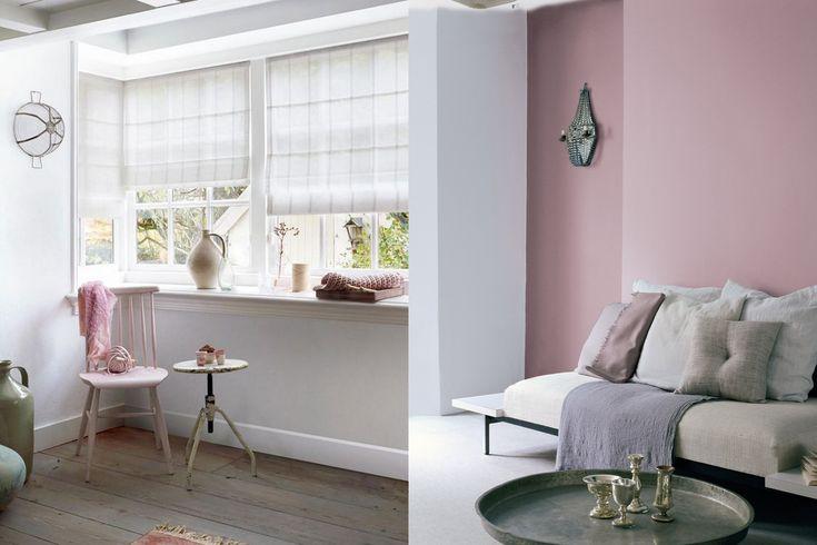 Vouwgordijn van bece® / Flexa oud roze en zacht roze op de muur