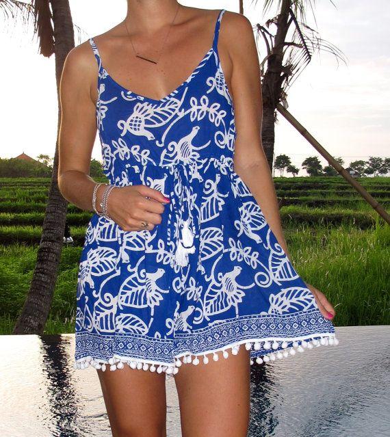 Pom Pom Jumpsuit / Playsuit Short Beach Dress by ljcdesignss