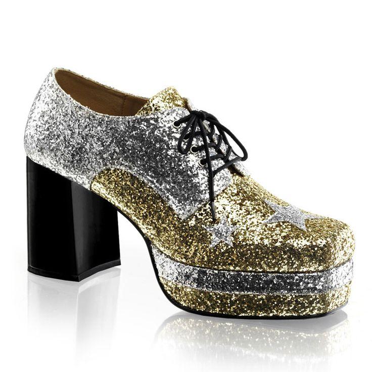 "3 1/2"" Heel, 1 1/2"" Stacked Platform,Lace Up Silver Glitter Oxford FUNTASMA GLAMROCK-02 S =Men's Size 8-9 M =Men's Size 10-11 L =Men's Size 12-13 XL=Men's Size 14"