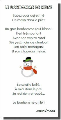 French winter poem about a snowman: poésie sur le bonhomme de neige