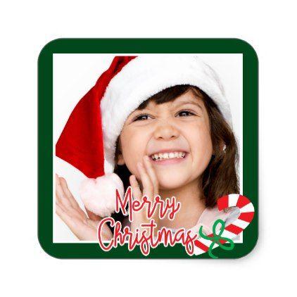 Merry Christmas | Happy Holiday Photo Candy Cane Square Sticker - holidays diy custom design cyo holiday family
