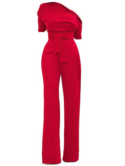 ba9090fb5f89 One Shoulder Plain Long Wide-Leg Jumpsuit For Women