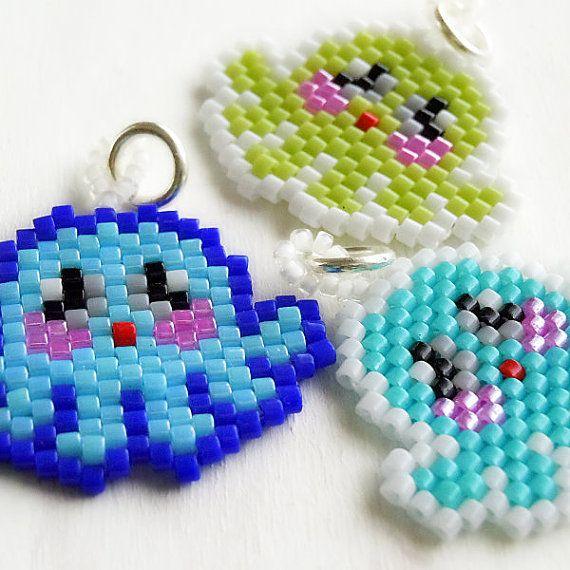 Poulpe graine perle breloque - Peyote Stitch perles tissage - charme Animal Kawaii - Turquoise, citron vert ou bleu clair