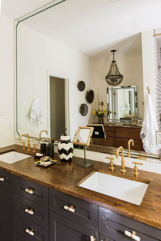 Dayka Robinson Brookside Oak Master Bathroom Renovation Butcher Block Countertop Grey Cabinet Kohler Brass World Market West Elm Heston Dresser 11:2015