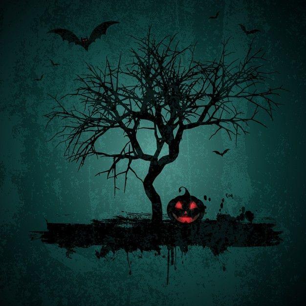 estilo do grunge Fundo de Halloween com bastões jaque o lanterna e árvore Vetor…