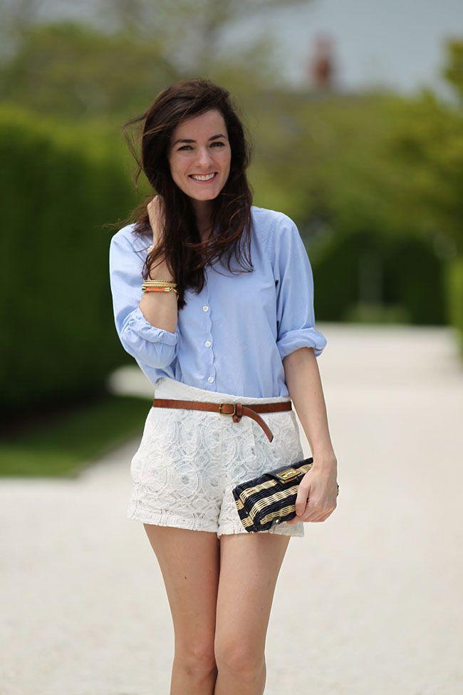 Pretty lace shorts.: Classy Girls, Buttons Up, Denim Tops, Brown Belts, Blue Shirts, Cute Shorts, White Lace Shorts, Shorts Dresses, Oxfords Shirts