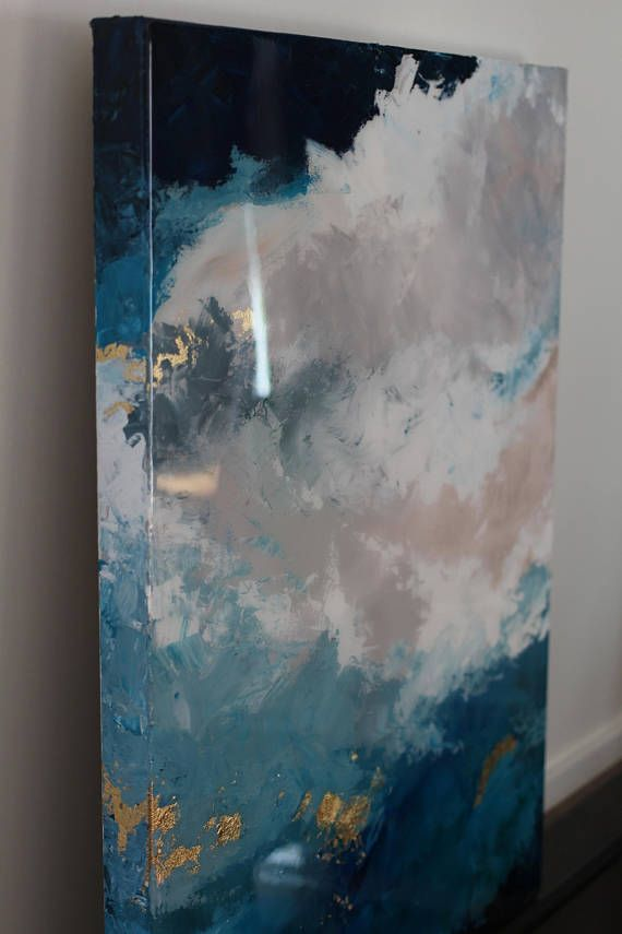 Sold Shiny Sky Blue Epoxy Gold Leaf Resin On Canvas Painting