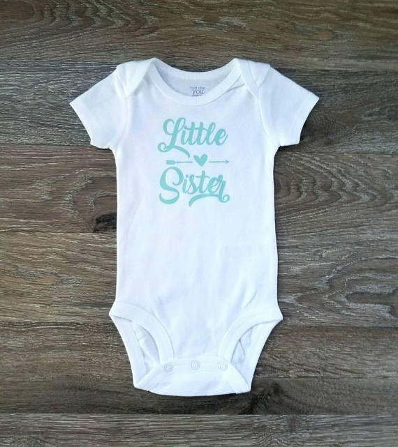 Newborn Girl Gift Little Sister Bodysuit New Baby Sister Little Sister Outfit
