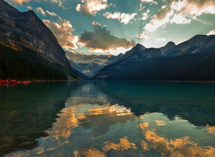 lake louise sunset 2 - Lake Louise on a fine fall day at sunset. This is one of my favourite places on the planet.
