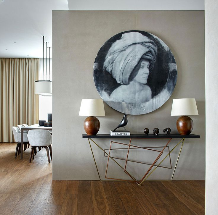Apartment with Panoramic Views of Moscow by Alexandra Fedorova | Grey, wood, black and white.