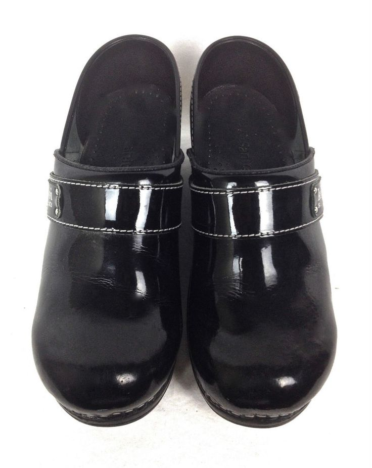 Sanita Shoes Womens Black Leather Clogs Loafers 7.5 38 #Sanita #Clogs #WeartoWork