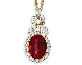 Jackie Kennedy GP Necklace  Simulated Ruby with Crystals
