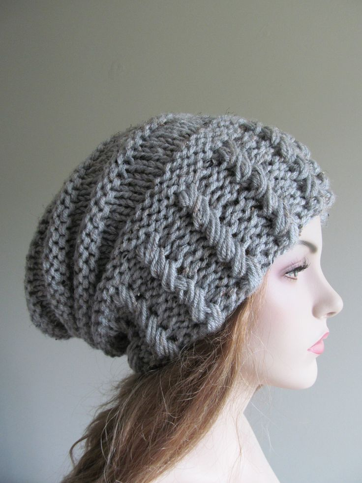 $44 Slouchy Grey Beanie Slouch Hats Oversized Baggy womens accessory Gray Hand Made Knit
