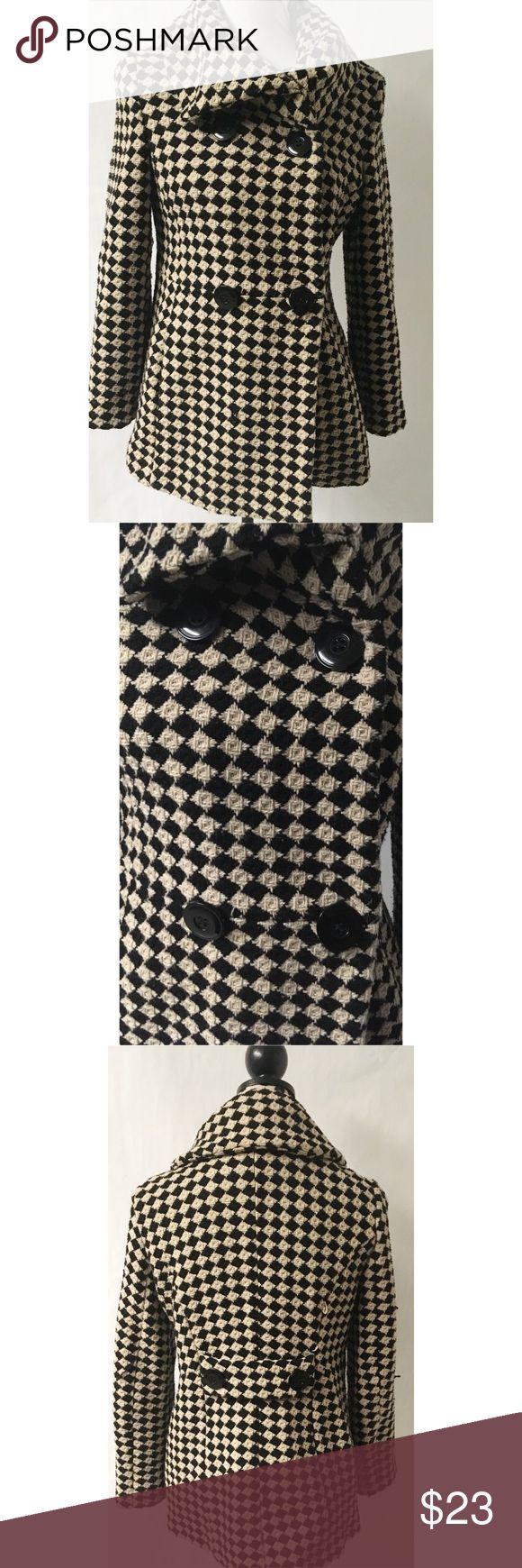 Tan & Black Pea Coat Size Petite Medium Length 28 Bust 38 debenhams Jackets & Coats Pea Coats