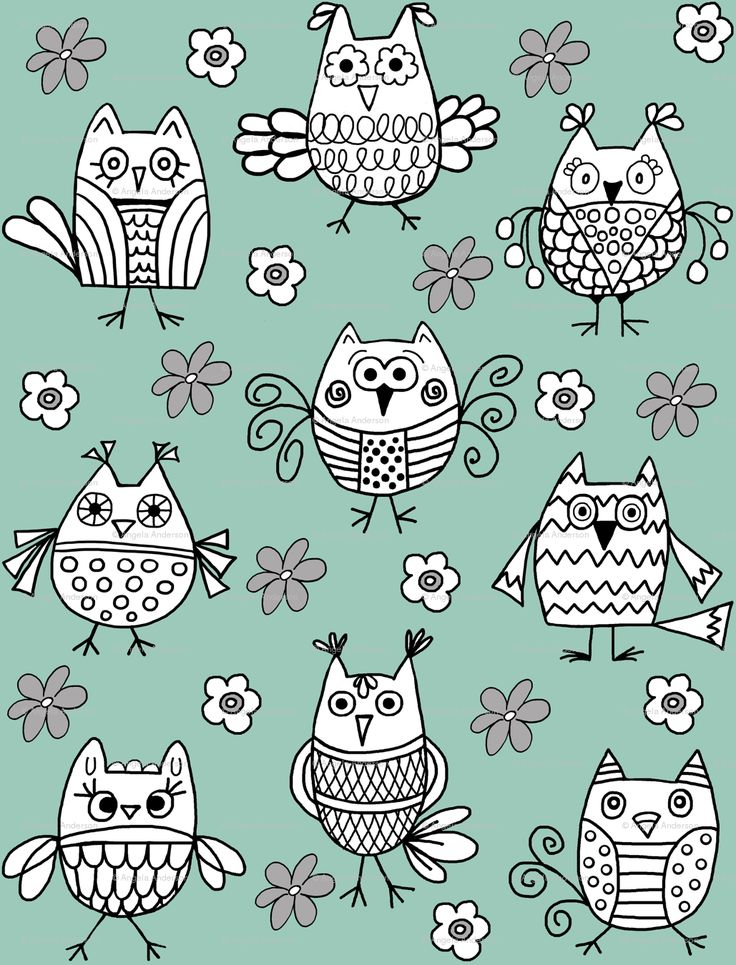 """Funky Feathered Friends"" Owl Fabric by Angela Anderson"