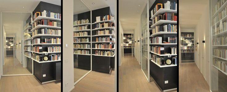 Libreria su misura in lamiera nera e legno di Frassino laccato bianco a poro aperto - Dettagli