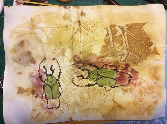 ORIGINAL DRAWING. Beetles on eco-printed paper 2