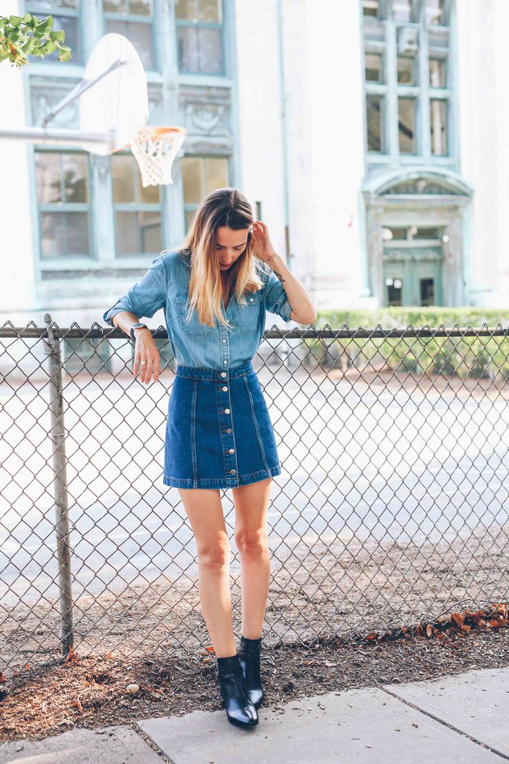 Denim skirts and chambray button downs.