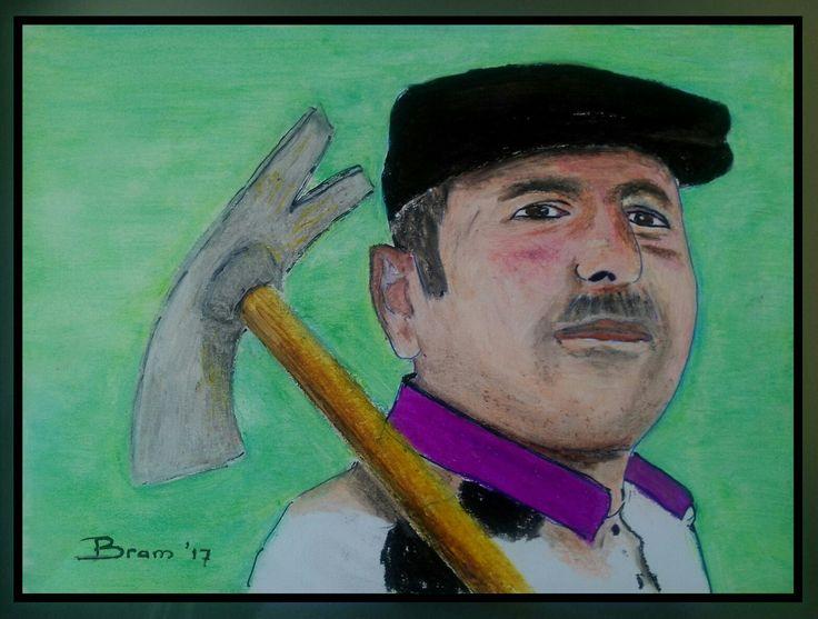 Isa de tuinman (bachivan) - olie pastel op papier.