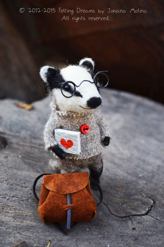 Oh my gosh, he is just the cutest! Mr. Badger  Felting Dreams by Johana Molina  by feltingdreams