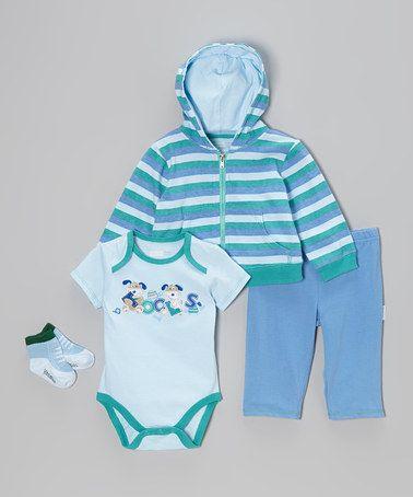 Look at this #zulilyfind! Blue & Green Stripe Zip-Up Hoodie Set - Infant by Vitamins Baby #zulilyfinds