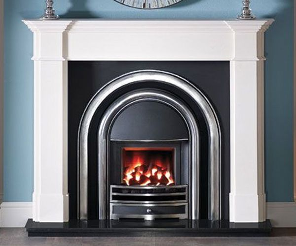56″ Shelf Agean Limestone 36″ x 36″ opening size Distributed by Capital Fireplaces Shown: Balham fire surround in Agean Limestone, Provident H/L polished cast iron insert and glass fronted, gas convector fire