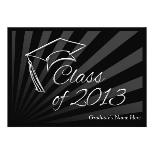 2013 Sleek Black Graduation Announcement