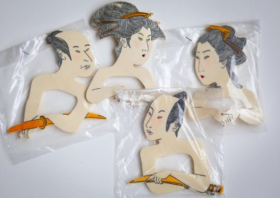 I used to sell these when I had my shop in FL!  Wish I had keep a set! Asian Napkin Rings set of 4  Geisha & Samurai by CumulusVintage, $22.00