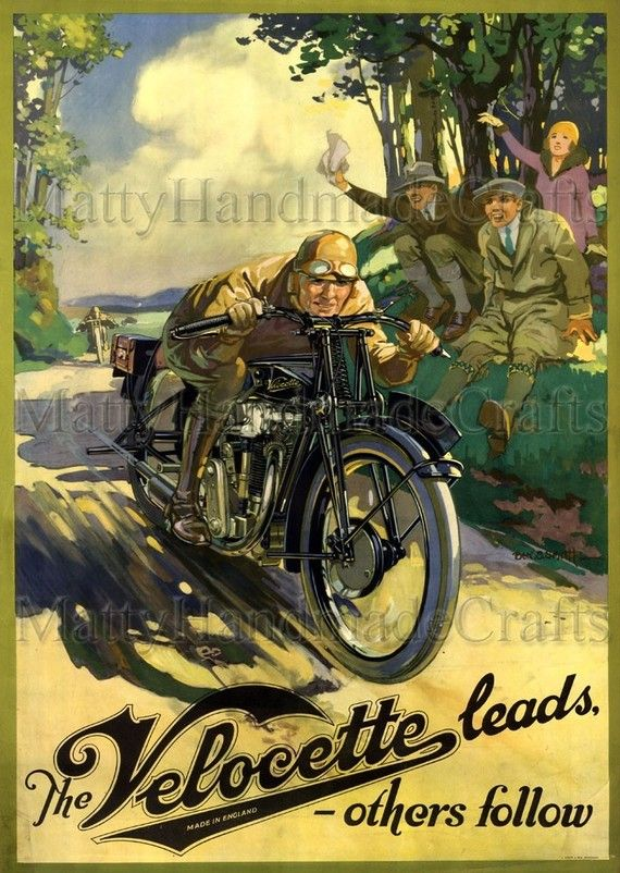 Velocette Motorcycles 1930s Advertising by mattyhandmadecrafts, $25.00