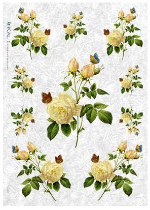 Papier ryżowy Kalit do decoupage flo038 Żółte róże Papier ryżowy Kalit - sklep DecoupageArt.pl