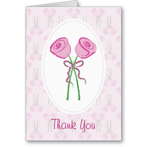 Pink Roses Wedding Thank You Cards