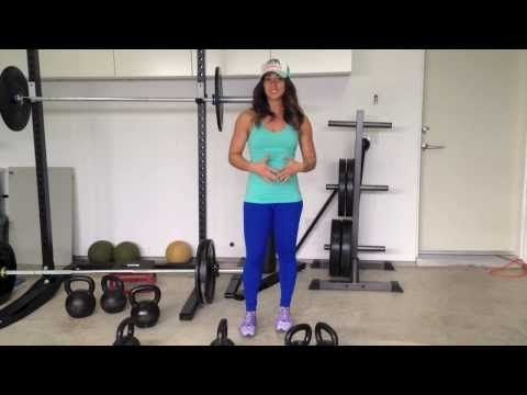 Kettlebell Quickie with Neghar Fonooni: Double KB suitcase deadlifts and double KB push presses.