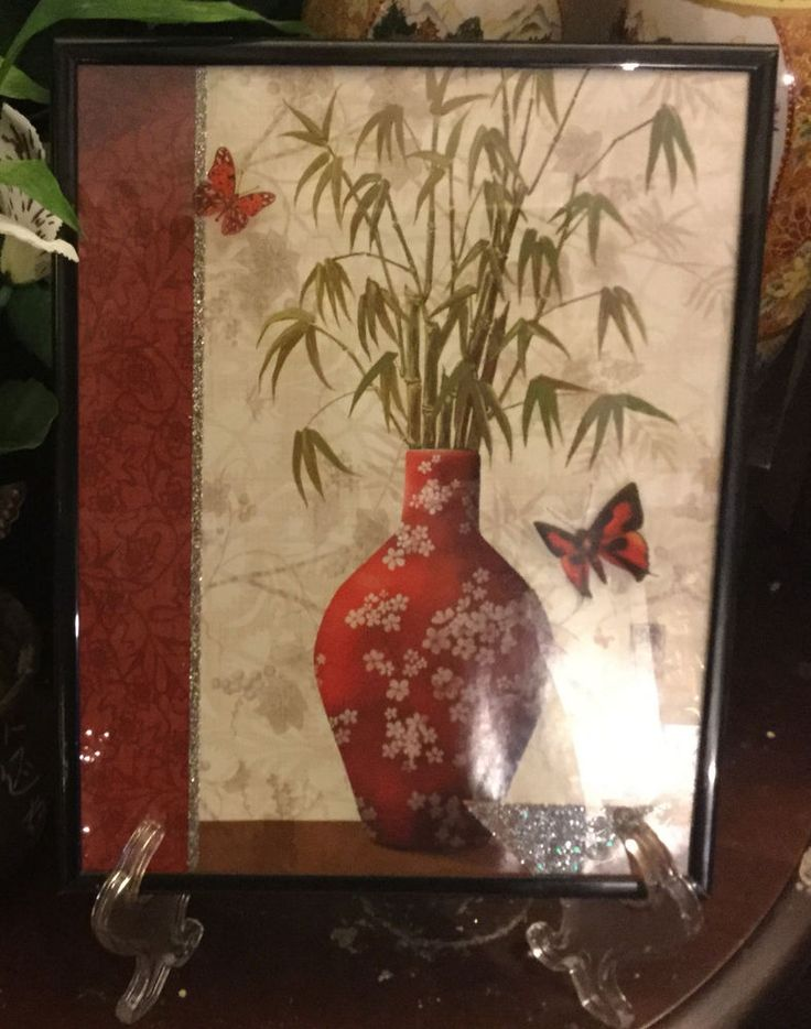 Chinese Japanese Bamboo Plant Framed Poster Print Accent Asian wall Art W Stand #Theasianbutterflycollection #Asian