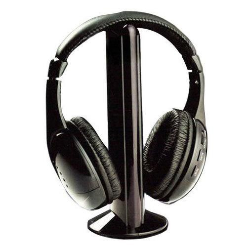 5-In-1 Wireless Hands Free Hi-Fi Headphones Bass Speaker Stand, FM Radio Function Connects To iPod/MP3/MP4/CD/DVD Players And Audio Devices