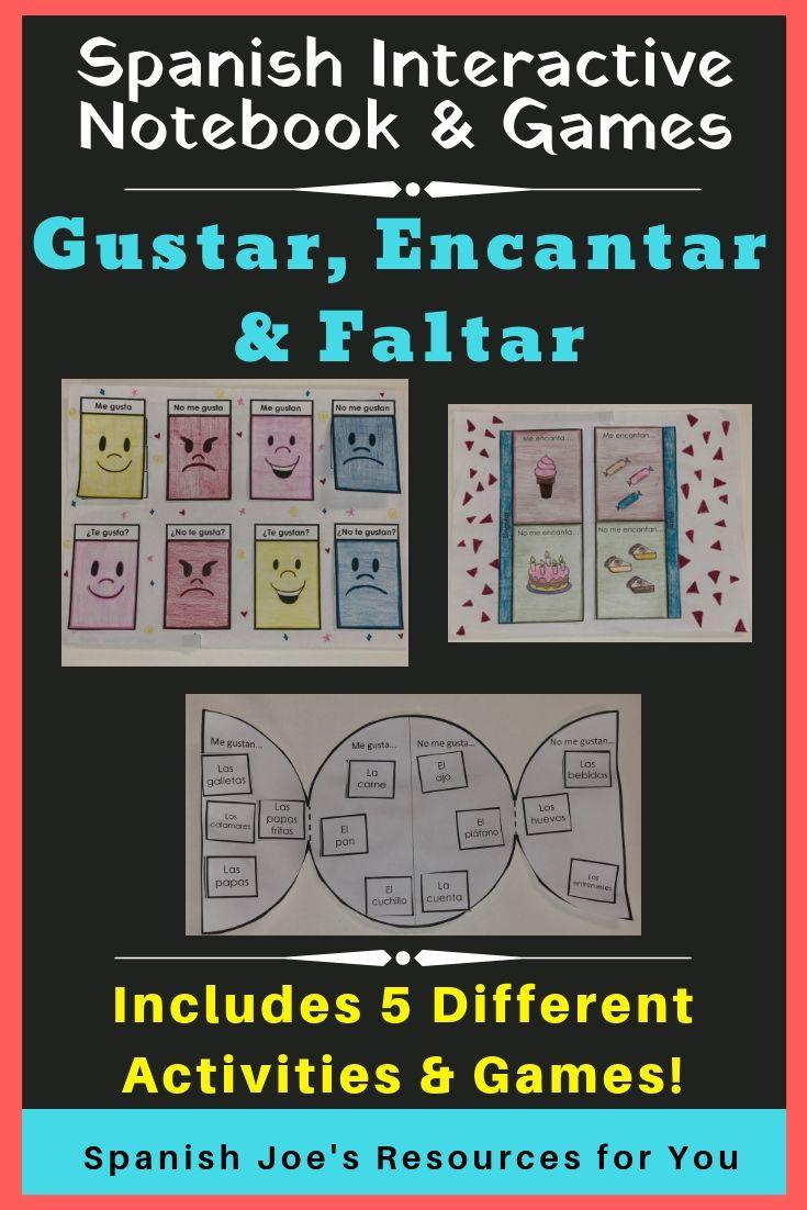 Gustar Encantar Faltar Interactive Notebook Games Spanish Learning Activities Teacher Lesson Plans Spanish Lesson Plans [ 1102 x 735 Pixel ]
