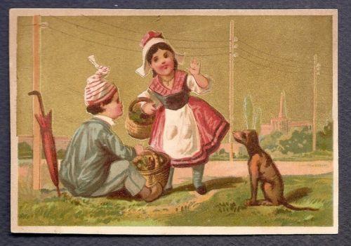 Retour DU Marche Couple Panier Chien Parapluie Chromo Victorian Trade Card