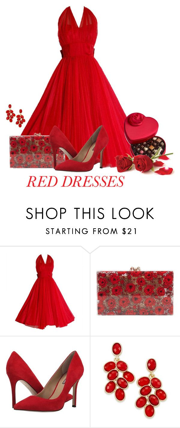 """""""Red Dress"""" by cris-1121 ❤ liked on Polyvore featuring Charlotte Olympia, BCBGeneration, Style & Co., Godiva, women's clothing, women, female, woman, misses and juniors"""