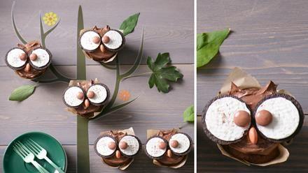 Ein Backrezept für Eulen-Muffins. Die kleinen Eulen sind richtig hübsch anzuschauen und schokoladig-köstlich wegzunaschen.