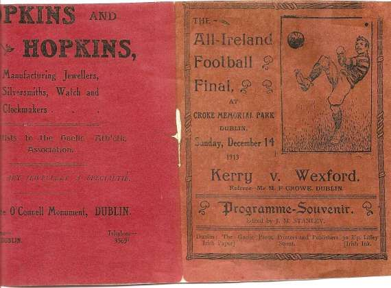 1913 All-Ireland SF final programme - Kerry v Wexford