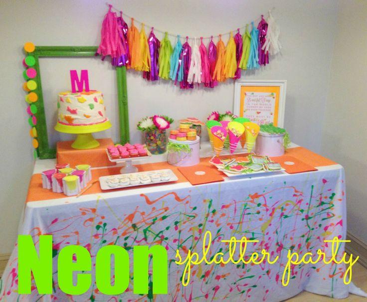 In Flight Party Ideas Neon Splatter