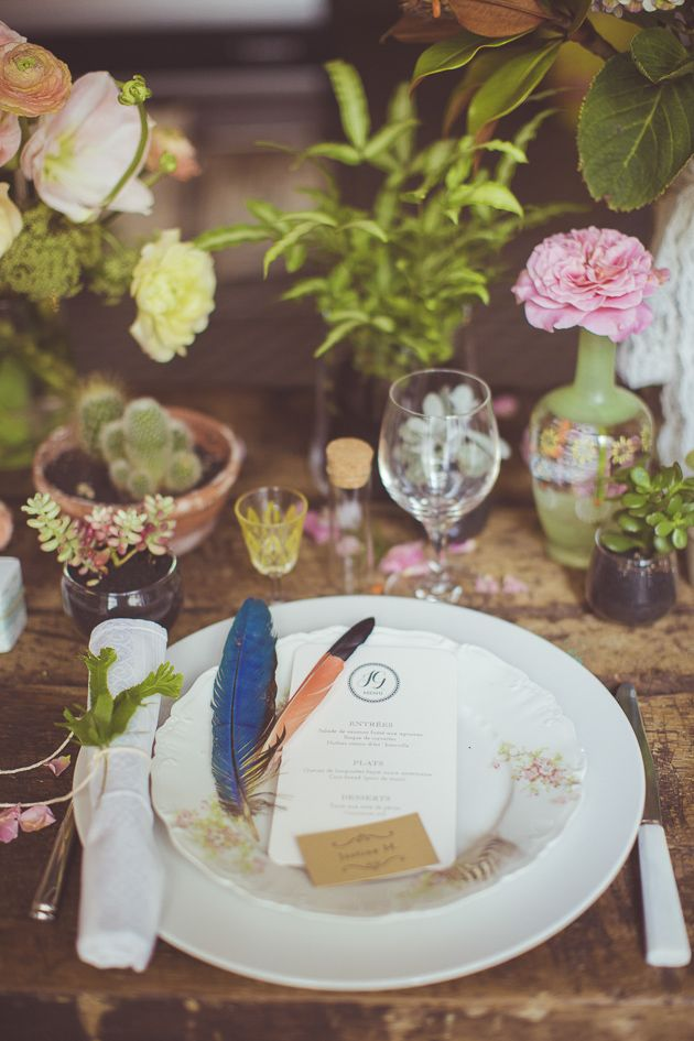 Vintage Plates and Feathers  Camille Marciano for Junophoto   Bridal Musings Wedding Blog 23