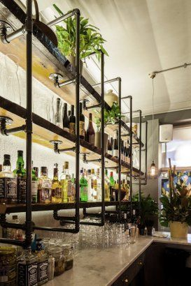 This Is Cool For A Basement Or Garage Bar. Recycled Pipe Shelves  More  Examples Of This Type Of Shelving/ Like The Counter Idea Too.