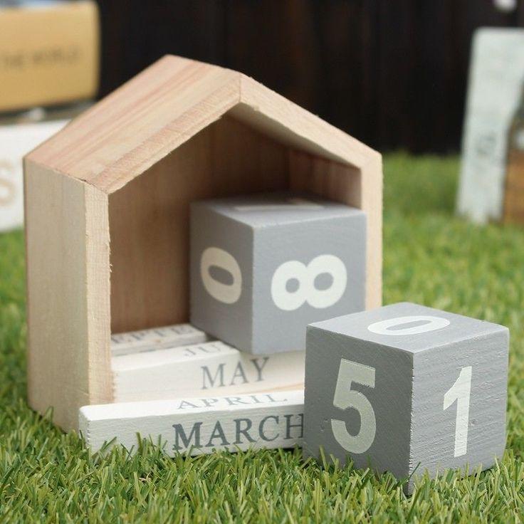 Vintage Design House Shape Perpetual Calendar Wood Desk Wooden Block Hom | Home & Garden, Holiday & Seasonal Décor, Christmas & Winter | eBay!