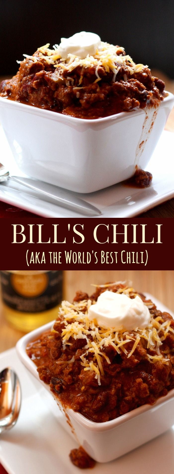 Bill's Chili is truly the World's Best Chili. I have no idea who Bill is, but he makes the BEST CHILI EVER, loaded with beef, bacon, and more.