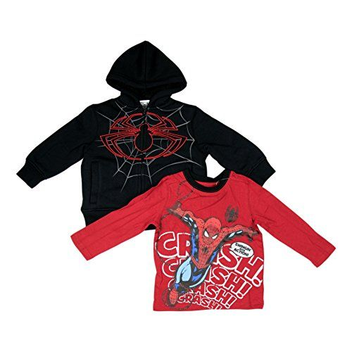 Marvel Ultimate Spider-Man Boys 2-Piece Hoodie & T-Shirt Set Black/Red (7/8) @ niftywarehouse.com
