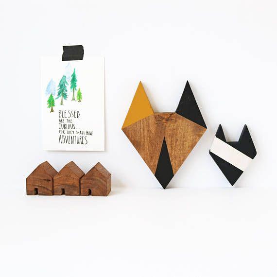 FIVEOEIGHT CO.  Papa + Mini Wood Fox Wall Decor Black Mustard Stained Wooden Animal. Plus Wood Block Village Houses!!